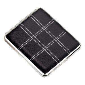 Портсигар S.Quire, сталь+натуральная кожа, черный цвет с прострочкой, 7,4 х 9,5 х 1,8 см 56416