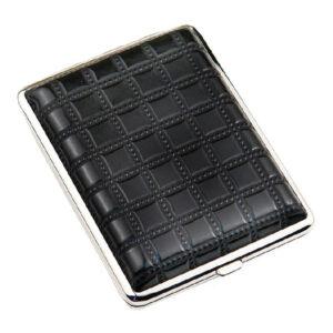 Портсигар S.Quire, сталь+искусственная кожа, черный цвет с рисунком 56431