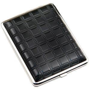 Портсигар S.Quire, сталь+искусственная кожа, черный цвет с рисунком 56437