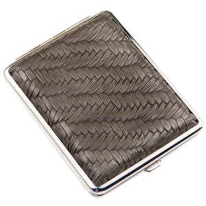 Портсигар S.Quire, сталь+искусственная кожа, бронзово-серый цвет с рисунком 56444