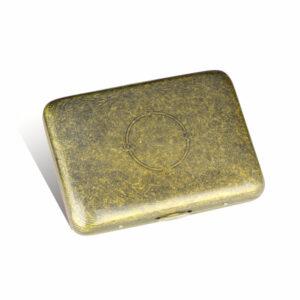 Портсигар S.Quire, сталь, золотистый цвет с рисунком, 94*71*20 мм 56450