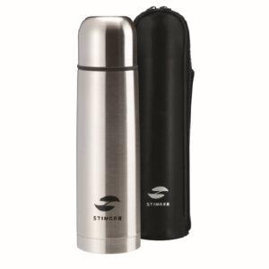 Термос Stinger с чехлом, 0,5 л, узкий, сталь, искусственная кожа, серебристый, чехол - чёрный 56396