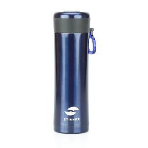 Термокружка Stinger, 0,42 л, сталь/пластик, синий матовый, с ситечком 52903