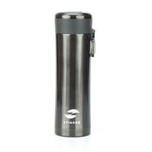 Термокружка Stinger, 0,42 л, сталь/пластик, чёрный матовый, с ситечком 52902