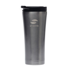 Термокружка Stinger, 0,45 л, сталь/пластик, черный глянцевый, 6,6 х 6,6 х 20 см 52904