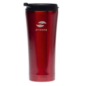 Термокружка Stinger, 0,45 л, сталь/пластик, красный глянцевый 56410