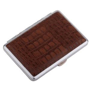 Портсигар S.Quire, сталь+искусственная кожа с металлическими клипами, коричневый цвет 56448
