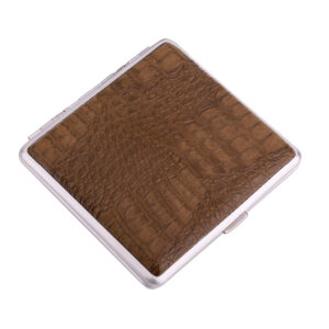 Портсигар S.Quire, сталь+искусственная кожа с металлическими клипами, коричневый цвет 56447