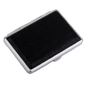 Портсигар S.Quire, сталь+искусственная кожа с металлическими клипами, черный цвет 56446