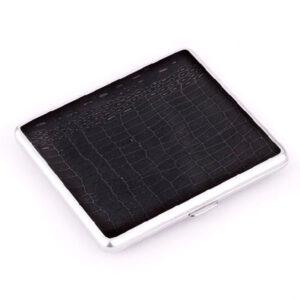 Портсигар S.Quire, сталь+натуральная кожа, чёрный со вставками 56417