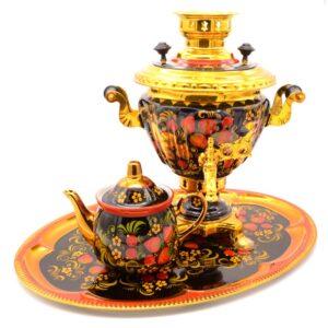 Самовар 2 л. Хохлома с чайником и подносом овал. форма Юла 50627