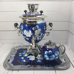 Самовар 3 л. с подносом и чайником Жостово на синем форма Желудь 57403
