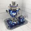 Самовар 3 л. с подносом и чайником Жостово на синем форма Желудь 57403 109127
