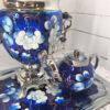 Самовар 3 л. с подносом и чайником Жостово на синем форма Желудь 57403 109128