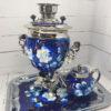 Самовар 3 л. с подносом и чайником Жостово на синем форма Желудь 57403 109129