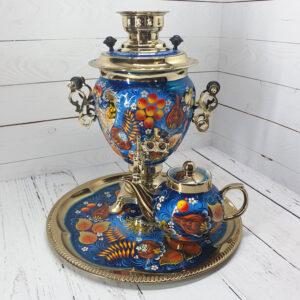 Самовар 3 л. с подносом и чайником Птица на синем 51306