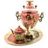 Самовар 3 л. с подносом и чайником Подсолнух на красном форма Желудь 49774