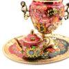 Самовар 3 л. с подносом и чайником Подсолнух на красном форма Желудь 49774 58377