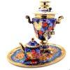 Самовар 3 л. с подносом и чайником Птица на синем Форма Рюмка 49775