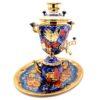 Самовар 3 л. с подносом и чайником Птица на синем Форма Рюмка 49775 58371